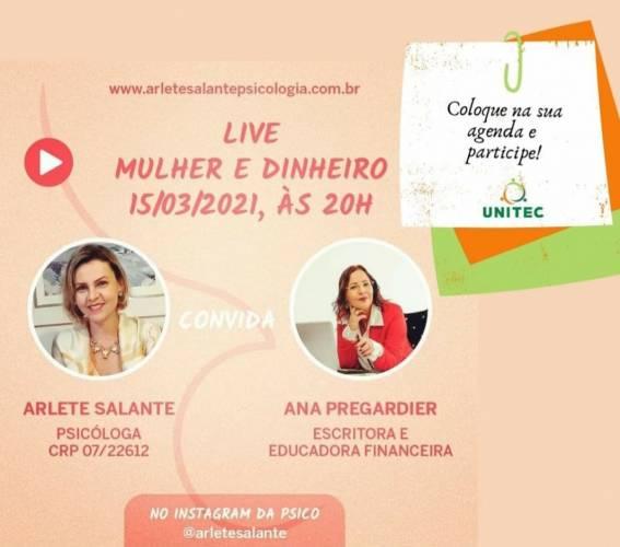Associada da Unitec realiza live com o tema 'Mulher e dinheiro'